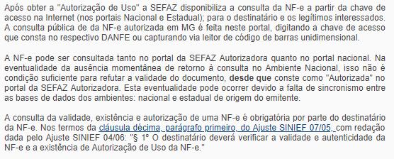Aviso sobre a Consulta de NFe MG no Portal da Sefaz