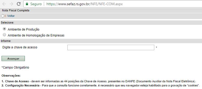 Consulta NFe através da Sefaz RS