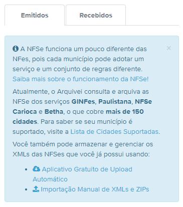 NFSes emitidas e recebidas através da plataforma do Arquivei