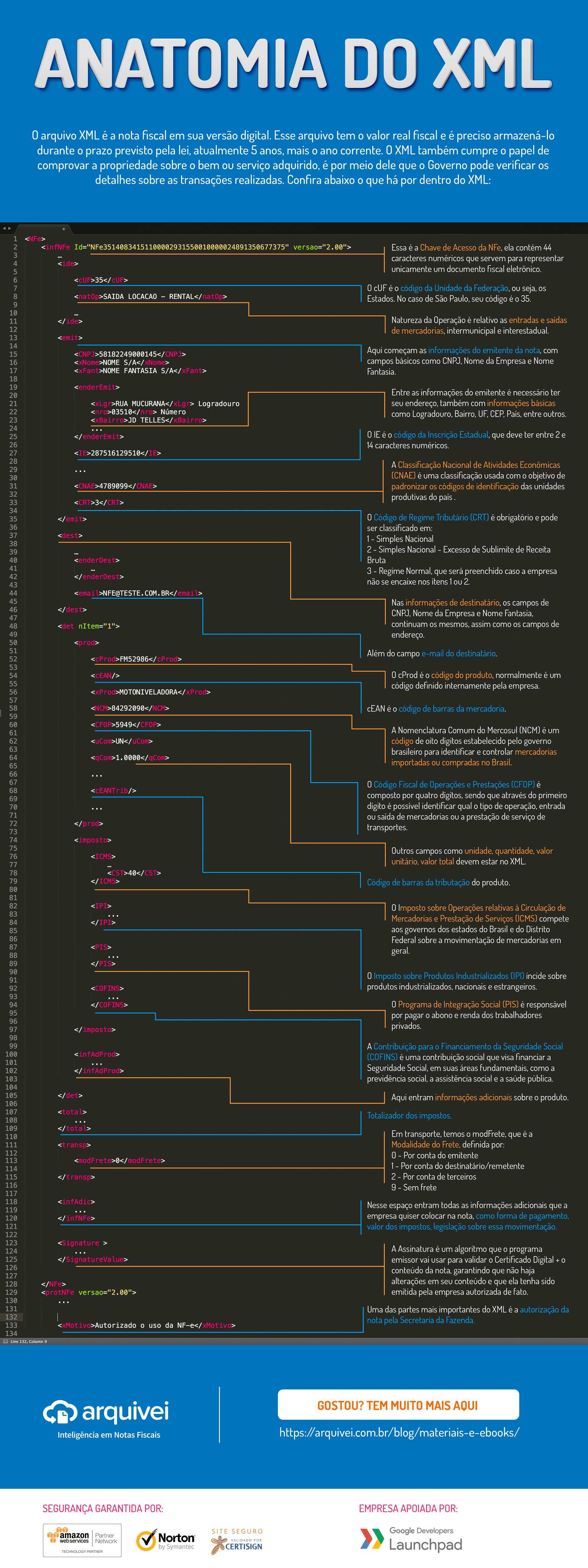 Infográfico: arquivo XML da NFe