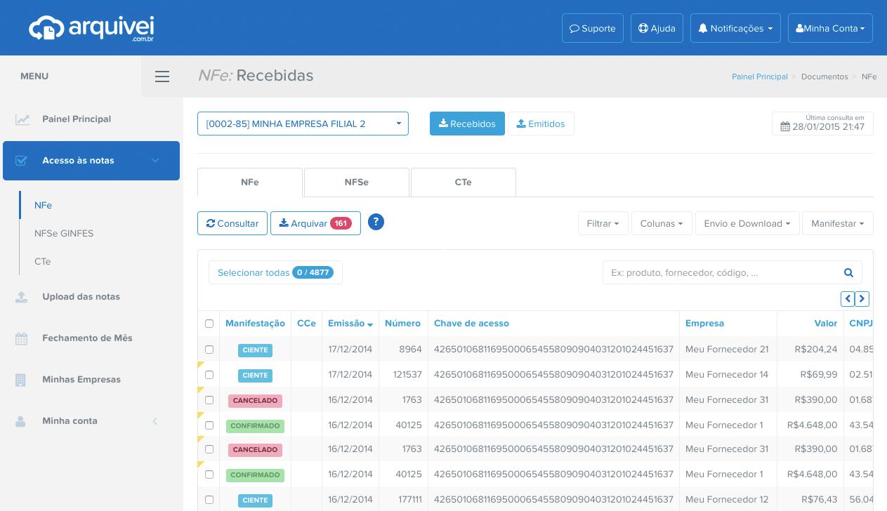 Imagem da plataforma do Arquivei