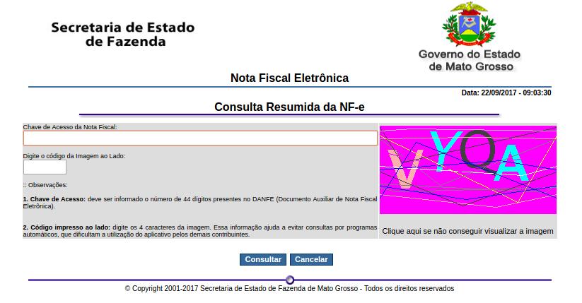 Consulta NFe resumo através do site da Sefaz-MT