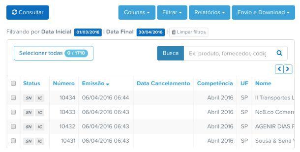 Relatório de NFSe através da plataforma do Arquivei