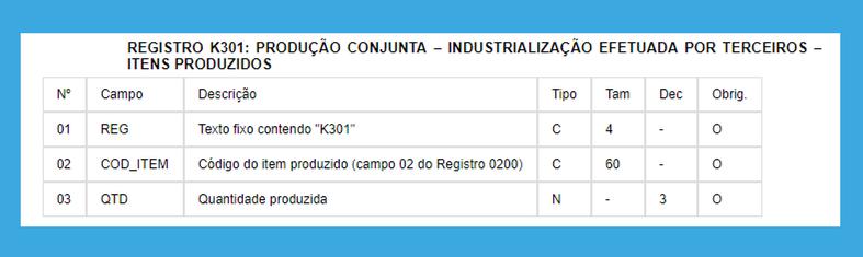 8 REGISTRO K301 EFD