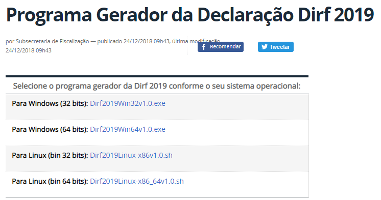 Escolha do Sistema Operacional para download da DIRF 2019