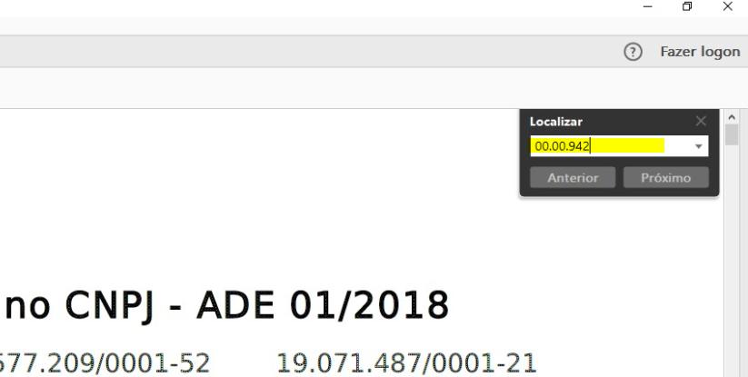 Campo de busca no PDF