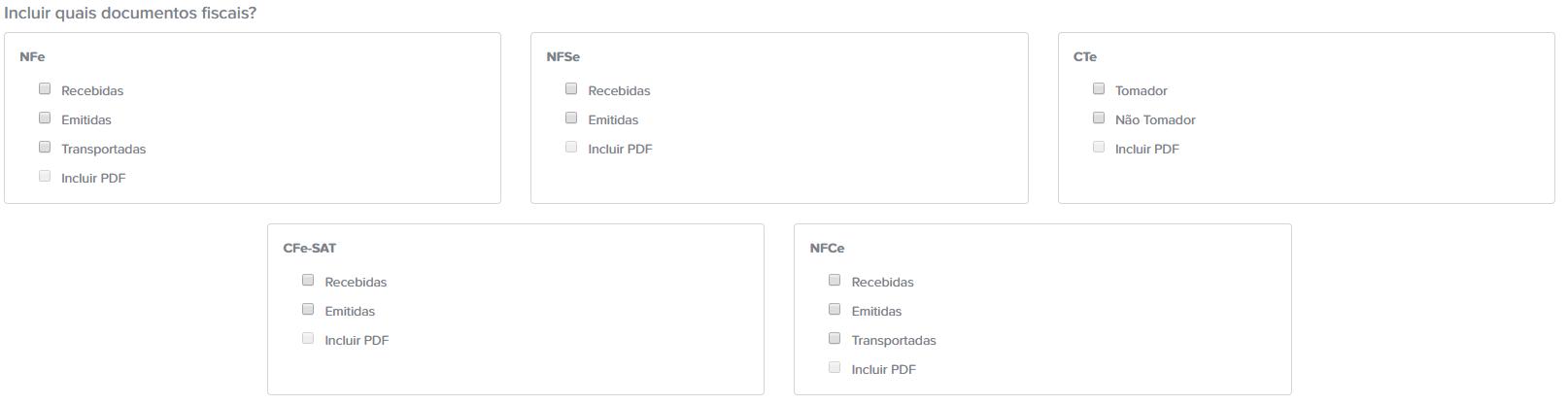 Escolha dos Documentos Fiscais que o Arquivei levará em conta no Fechamento de Mês